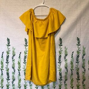Mustard yellow off the shoulder dress